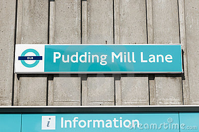Pudding Mill Lane sign Editorial Image