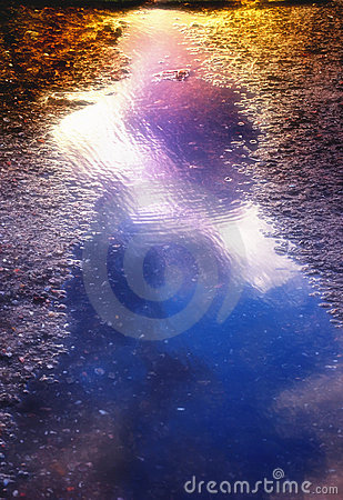 Free Puddle In Sunset Colors Royalty Free Stock Image - 2695816