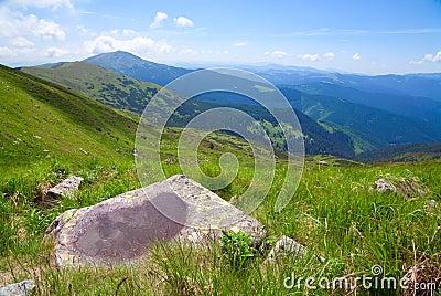 Puddle on mountain stone