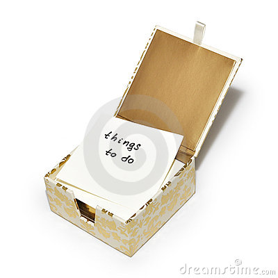 Pudełko mieć ochotę pełne notatki notatek rzeczy