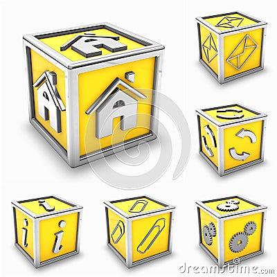 Pudełkowatej ikony ustalony kolor żółty