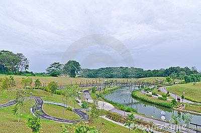 Puente sobre el canal de Punggol, Singapur