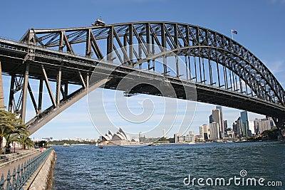 Puente y teatro de la ópera del puerto Fotografía editorial