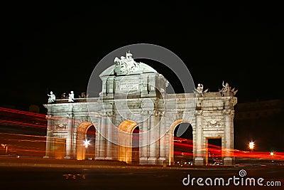 Puerta de Alcala, Madrid, Spain at night.