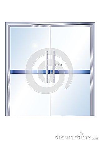 Puerta de cristal met lica de la oficina vector imagen for Puertas de cristal para oficina