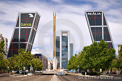 Puerta de Europa in Madrid, Spain. Editorial Photography