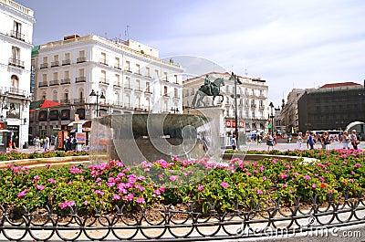 Puerta del Sol square in Madrid, Spain. Editorial Stock Photo