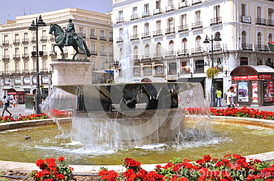 Puerta del Sol square in Madrid, Spain. Editorial Photography