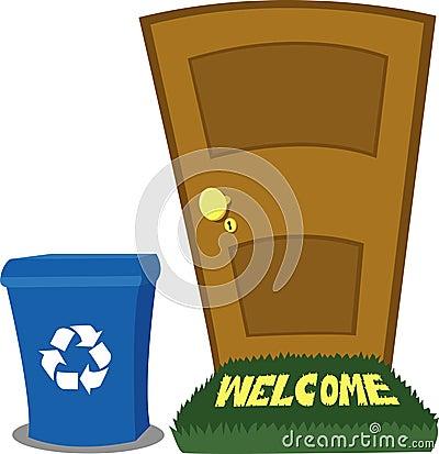 Puerta y compartimiento de reciclaje