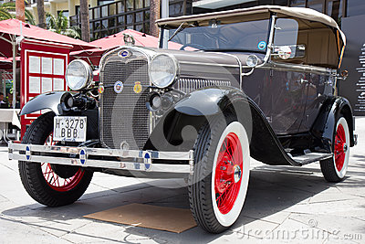 PUERTO DE LA CRUZ - JULY 14: Ford Model A at  Exposicion de vehi Editorial Photo