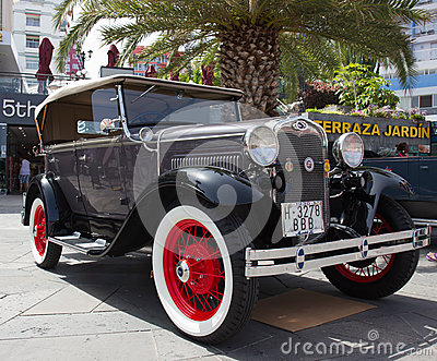 PUERTO DE LA CRUZ - JULY 14: Ford Model A at town boulevard, on Editorial Photo