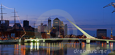 Puerto Madero at night, Buenos Aires, Argentina. Editorial Image