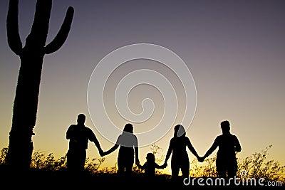 Puesta del sol de la unidad de la familia