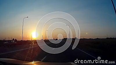 Puesta del sol Sunny Road Driving 30s almacen de metraje de vídeo