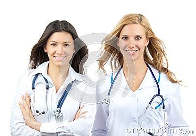 Puesto de interno del doctor o de la enfermera de dos jóvenes