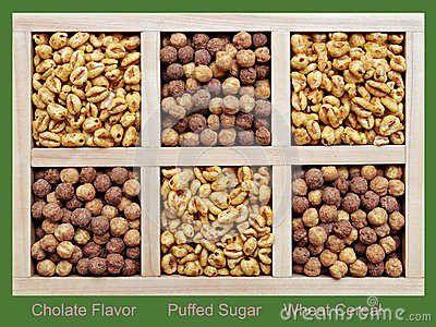 Puffed and chocolate flavor cereal
