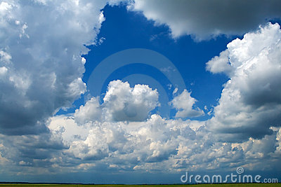 Puffy clouds background