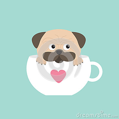 Free Pug Dog Mops Paw Sitting In Big Cup With Heart. Cute Cartoon Character. Flat Design.  Blue Background. Royalty Free Stock Photo - 67077855