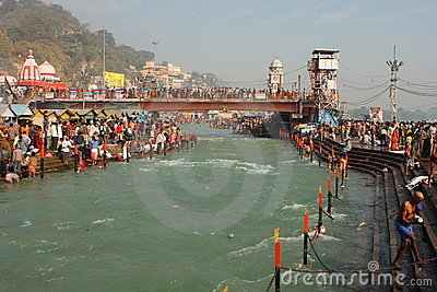 Puja ceremony on the banks of Ganga river Editorial Stock Image