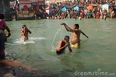 Puja ceremony on the banks of Ganga river Editorial Stock Photo