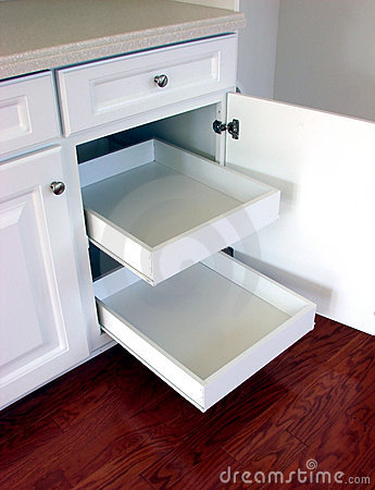 Pull Out Kitchen Drawers Shelves in a Modern House