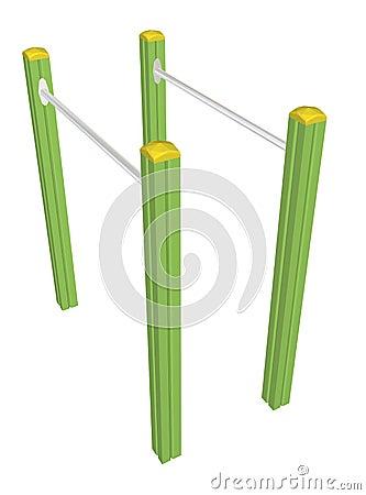 Pull-up bars, 3D illustration
