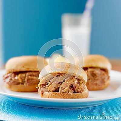 Free Pulled Pork Sandwich Trio Royalty Free Stock Photos - 26452578