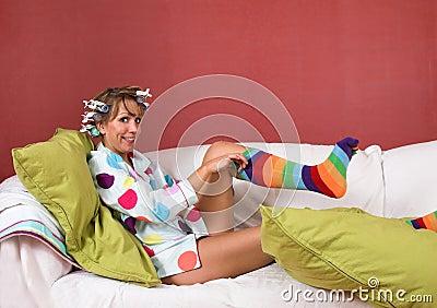 Pulling on my funny socks