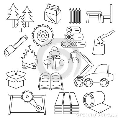 Free Pulp, Paper And Wood Products Icon Set. Thin Line Design Isolate Royalty Free Stock Photos - 96668238
