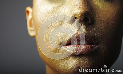 Pulpy golden lips