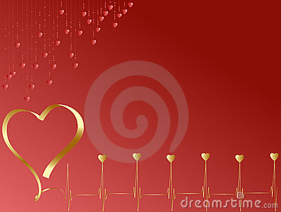 Pulse of love with  hearts