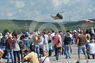 Puma helicopters in flight during a Military Parade Editorial Stock Photo