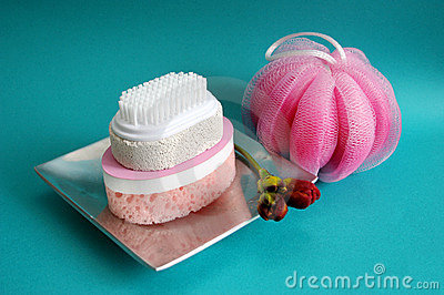 Pumice brush and sponges at a spa - health and beauty