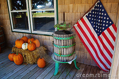 Pumkins and american flag