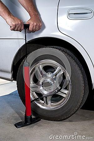 Pump car tire with air