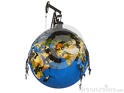 Pump jack and oil spill over planet