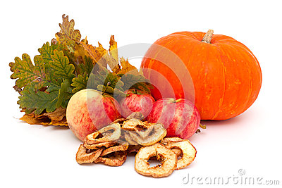 Pumpkin, apples and autumn leaves