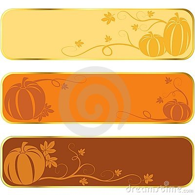 Pumpkin banners with gold rim