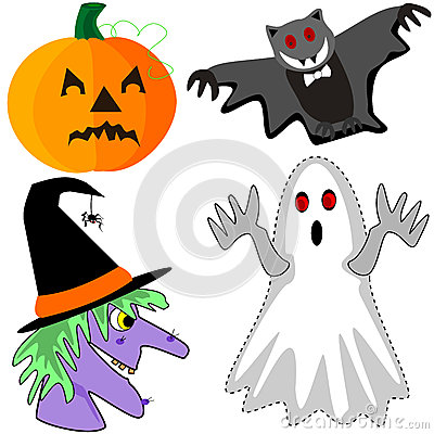 Pumpkin, bat, witch and ghost