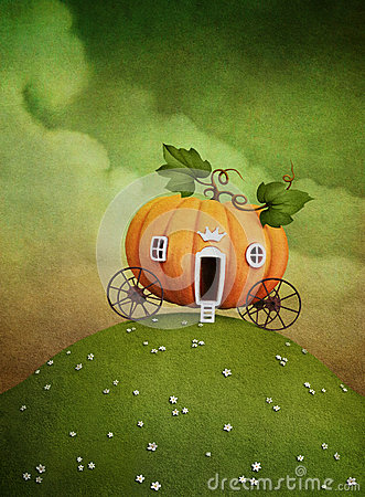 Free Pumpkin Carriage On Green Hill Royalty Free Stock Images - 26433389
