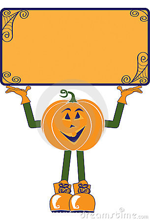 Pumpkin Character With Sign