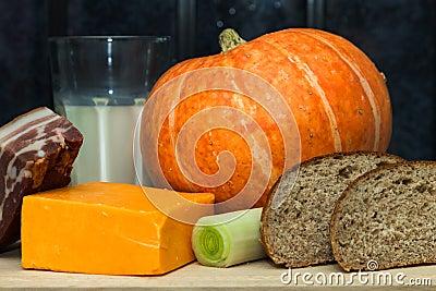 Pumpkin, Cheese, Milk, Leek, Bacon And Stock Photo - Image: 53469606