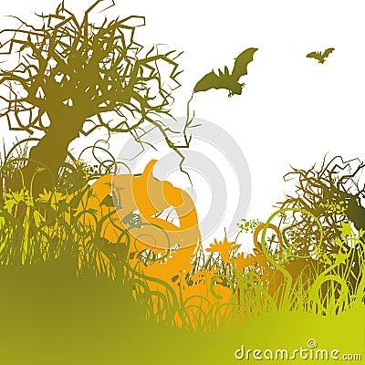 Pumpkin in the cold grass