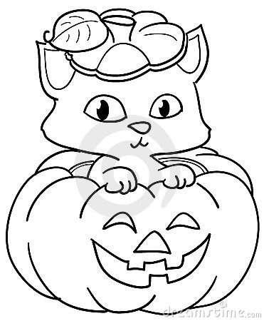 Pumpkin and cute cat coloring