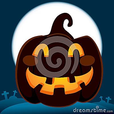 Pumpkin In Dark Cemetery