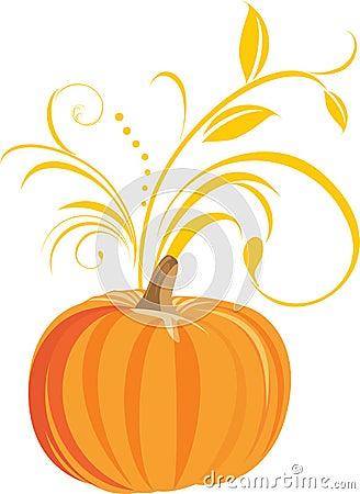 Pumpkin with decorative sprig