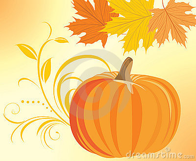 Pumpkin with decorative sprig and maple leaves