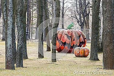 Pumpkin effigy in a summer garden