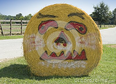 Pumpkin face on bale of hale