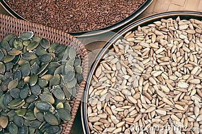 Pumpkin,  flix and sunflower seeds